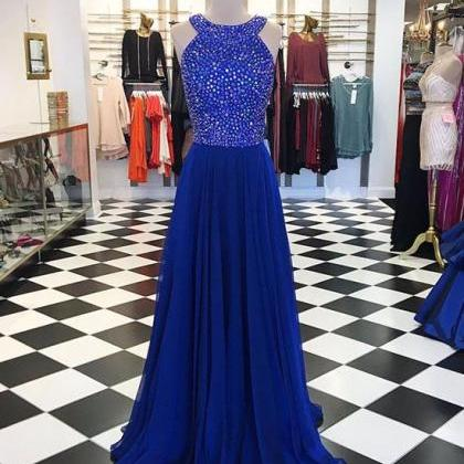 Royal Blue Prom Dress,Pretty A-line..