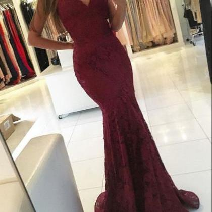 Burgundy Mermaid Lace Prom Dresses ..