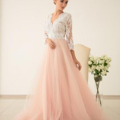Blush Pink Prom Dresses 2019,Lace P..