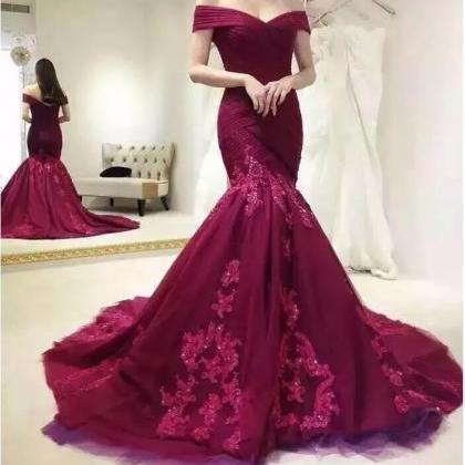 Burgundy Mermaid Prom Dresses,Off T..