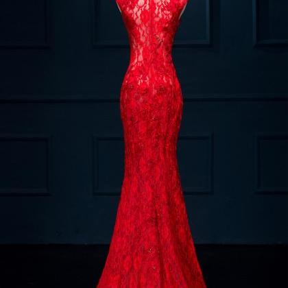 Red long lace prom dress,lace eveni..