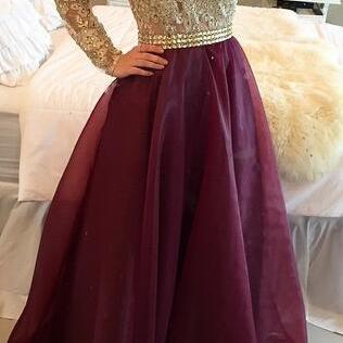 New A-Line Prom Dress, Long Sleeve ..