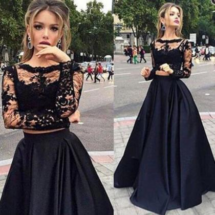 New 2016 Black Long Sleeves Prom Dr..