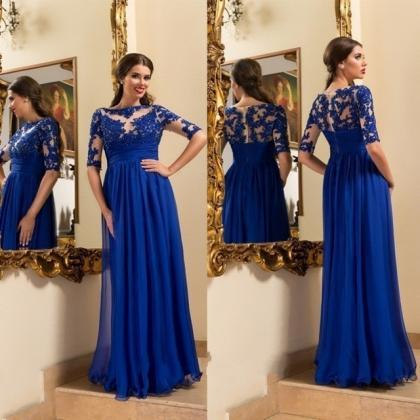 2017 Royal Blue Long Prom Dress Cus..