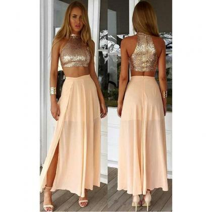 2017 Gold Two Piece Long Prom Dress..