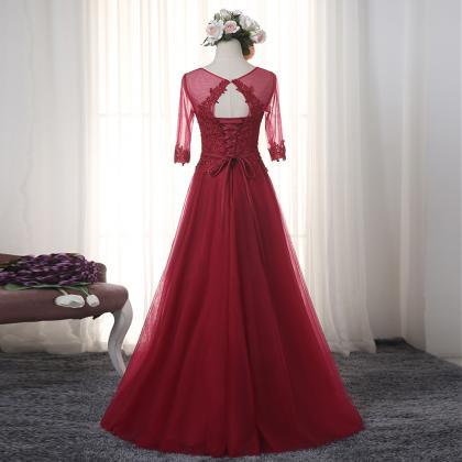2017 Modest Burgundy Prom Dresses L..
