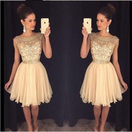 Champagne Beaded Homecoming Dresses..