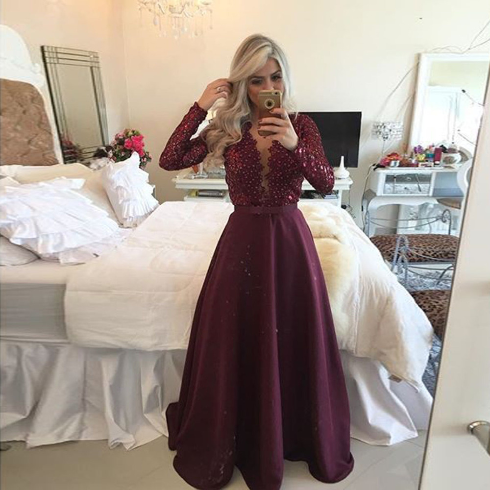 Burgundy A-line Long Prom Dress Long Sleeves V-neck Prom Dress Lace ...