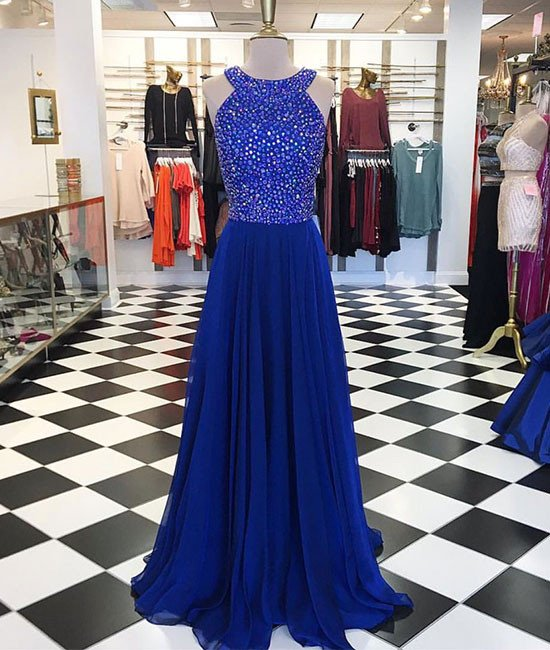 Royal Blue Prom Dress,Pretty A-line Beading Chiffon Prom Dress, Custom Made Evening/Party Gowns 2017