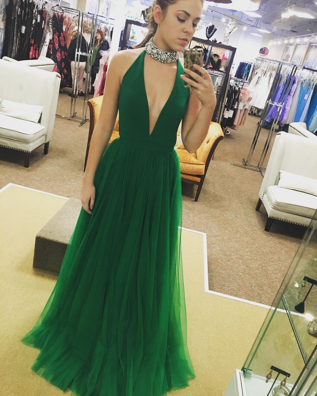 ad0f6206491f62 Sexy Deep V-neck Tulle Long Prom Dress