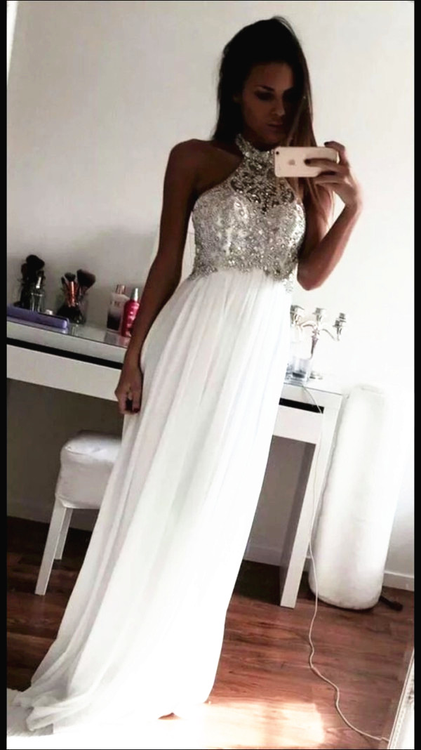 White O-neck Long Prom Dress A-line Chiffon Beading Prom Dress With ...