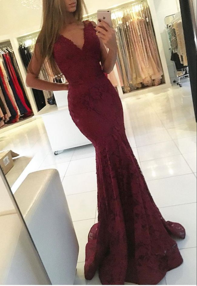 Burgundy Mermaid Lace Prom Dresses Modest 2017 V Neck Formal Evening Dress For Women Long Party Dress