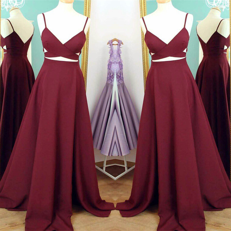 4c39cbafa4c Simple Cheap Burgundy Prom Dresses Floor Length Open Back Formal Evening  Party Dresses