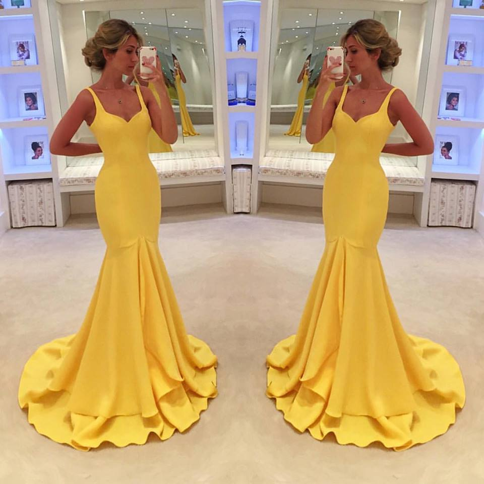 Simple Mermaid Evening Dresses 2018 Yellow Formal Women Prom Party ...