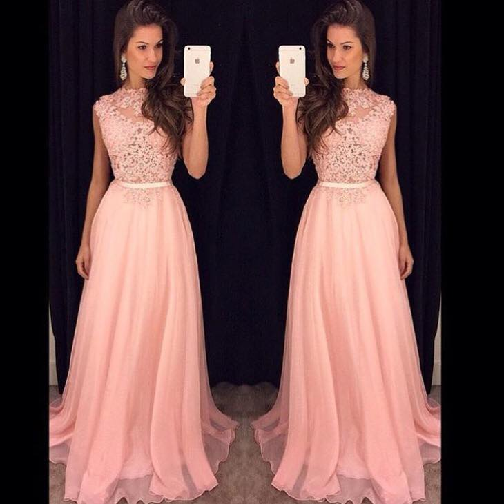 Blush Pink Prom Dresses Lace 2018 High Neck Formal Evening Dresses ...