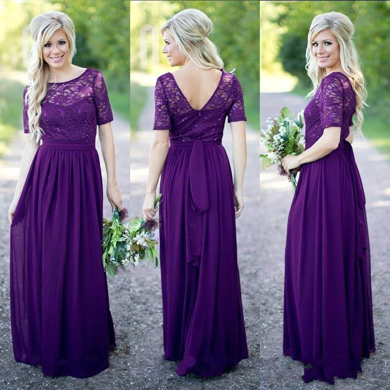 Purple Bridesmaid Dresses Lace Wedding Guest Country Maid Of Honor Bridesmaids Gowns 2018