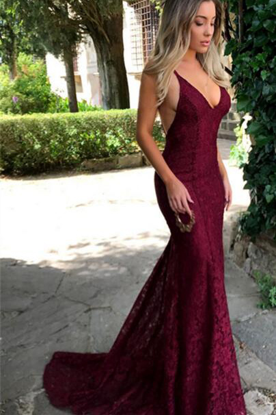 Burgundy Lace Prom Dresses 2018 Mermaid Evening Gowns Backless Formal Dress