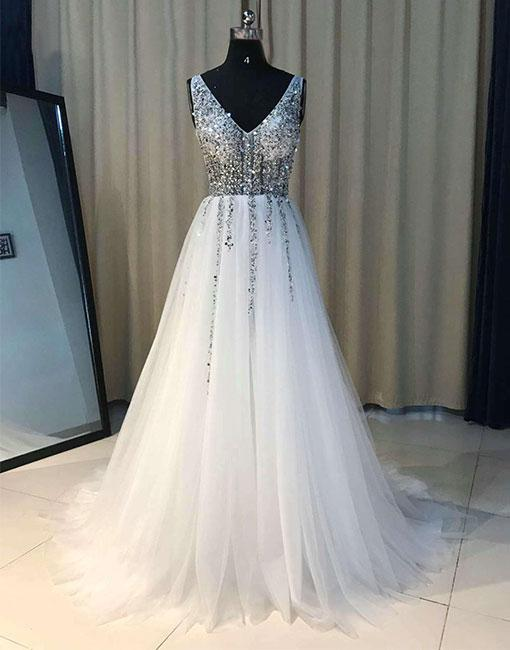 White V Neck Beaded Prom Dresses Long 2018 A Line Evening Gowns Women Formal Party Dress