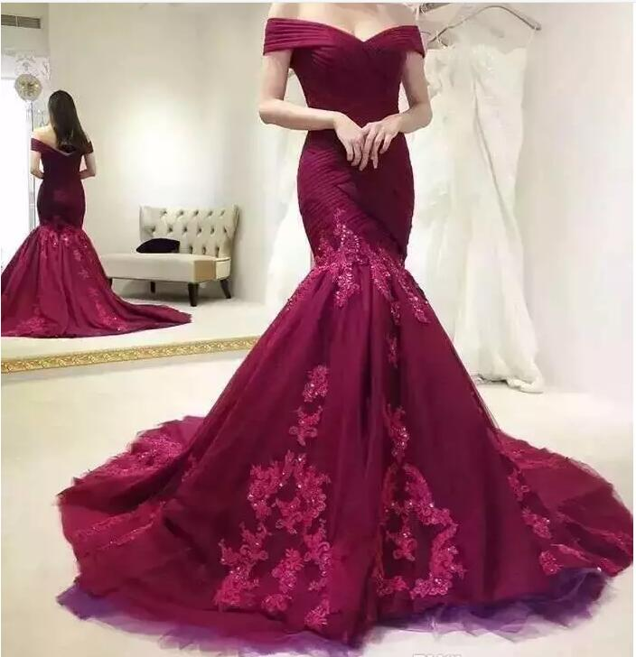 Burgundy Mermaid Prom Dresses,Off The Shoulder Prom Dress,Evening Gowns,Formal Dress,Robe De Soiree,Special Occasion Dress