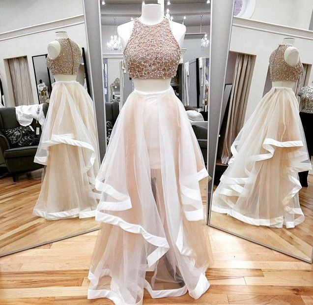 Champagne beading tulle long evening dress,champagne formal women dress,wedding party dress,long prom dress,two pieces dress