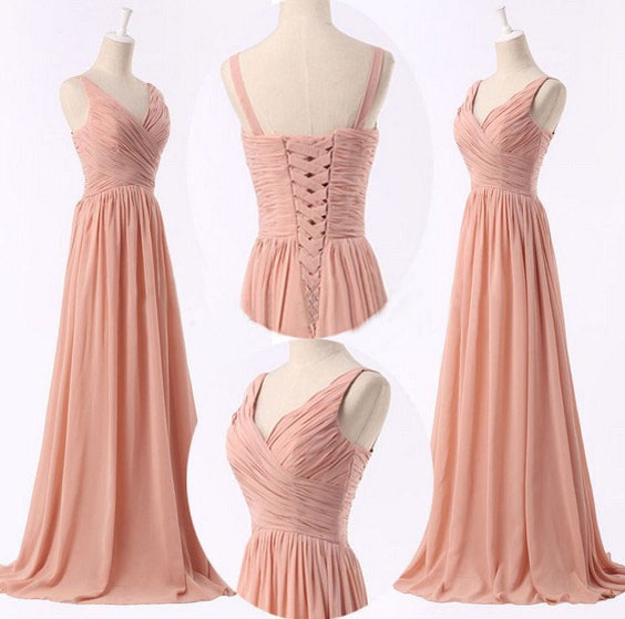 2016 Handmade Simple Peach Pink Bridesmaid Dresses Prom Long Formal Women Dress Evening Wedding Party