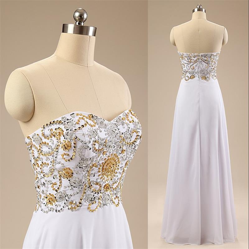 Beaded Embellished Sweetheart Floor Length Chiffon A-Line Prom Dress