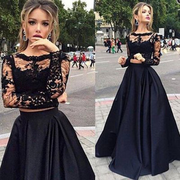 New 2016 Black Long Sleeves Prom Dress,Two Pieces Prom Dress,Two Pieces Evening Dress,Formal Women Dress,Wedding Party Dress