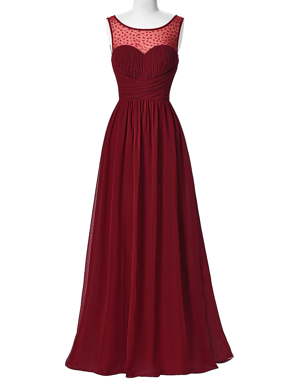 Long Burgundy Prom Dresses 2016 Sleeveless V-Back Chiffon Prom Dress,Handmade Prom Dress,Cheap Prom Dress,Formal Evening Gown,Prom Gown 2016