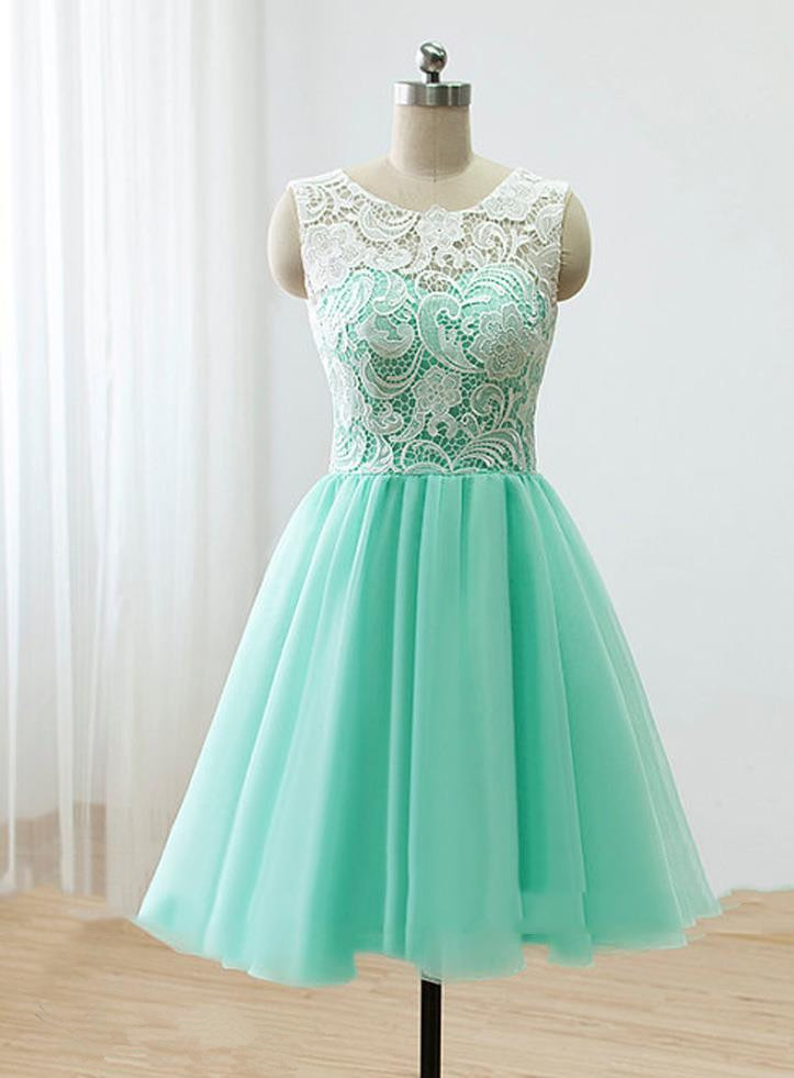 b762ade19114a Love Handmade Short Mint Chiffon Prom Dress With Lace, Homecoming Dresses,  Short Prom Dresses 2016