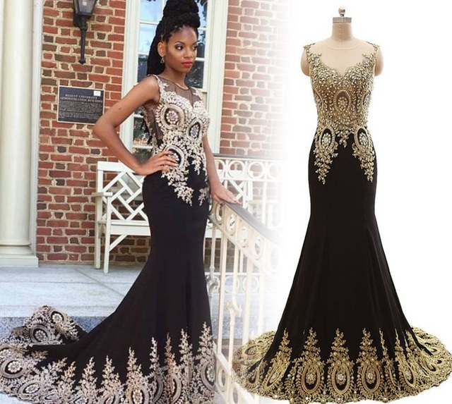 New Design Black Long Prom Dresses 2016 O-Neck Sleeveless Mermaid ...