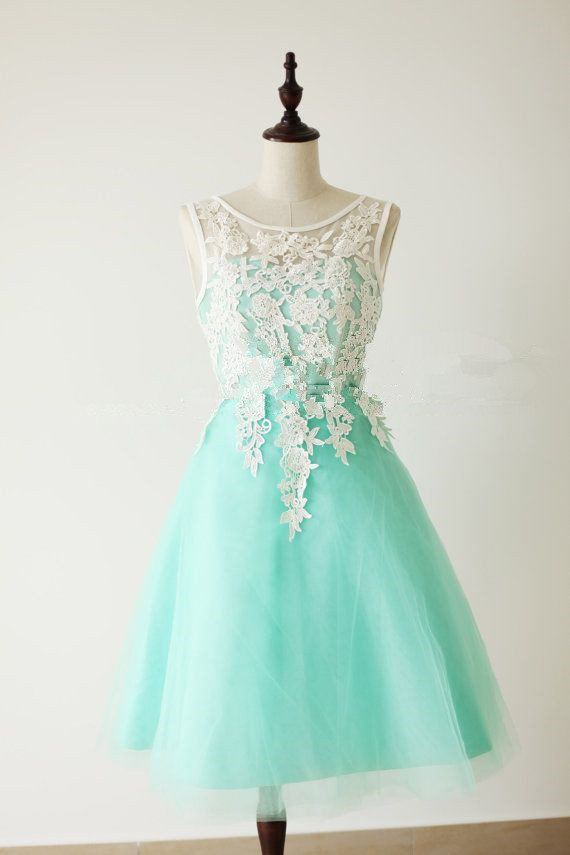 Handmade Turquoise Tulle Short Prom Dress With White Applique ...