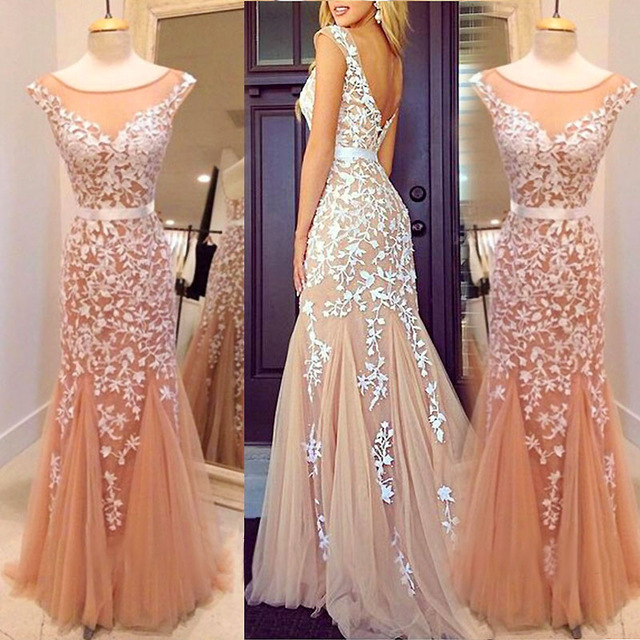 2017 Champagne Long Prom Dress Custom Made Lace Tulle Mermaid Prom Gowns/Evening Dress
