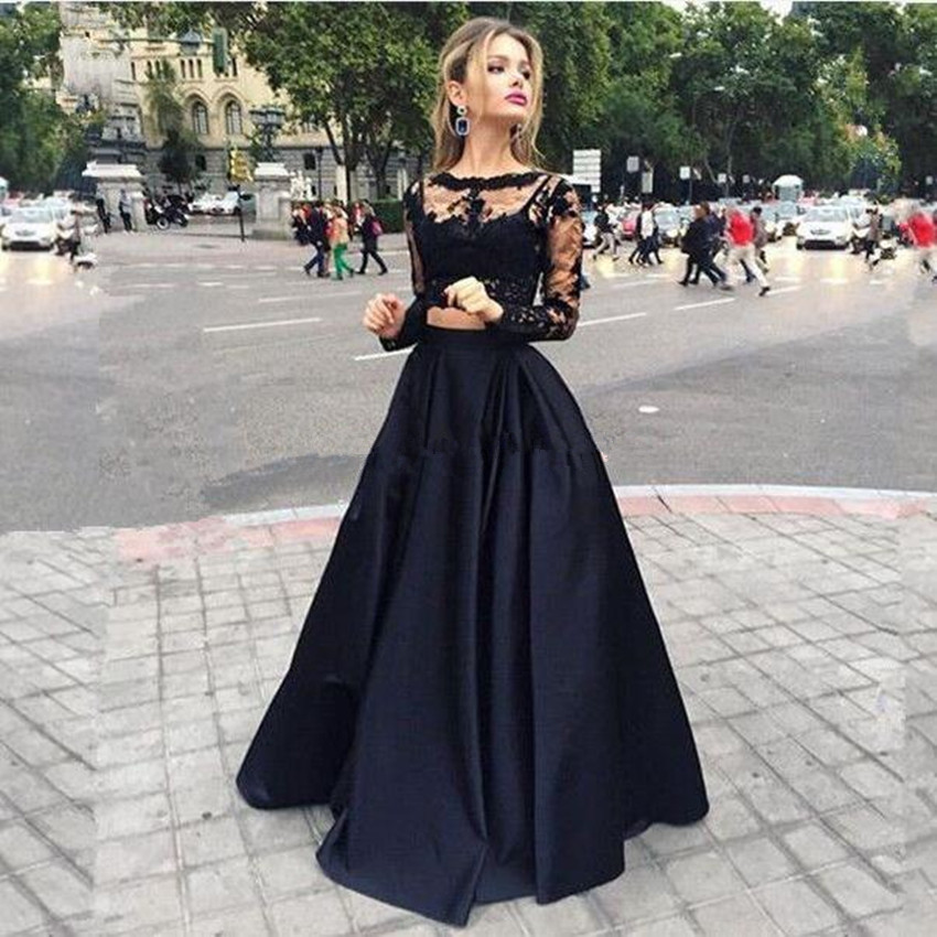 Elegant Two Pieces Black Lace Satin Long Prom Dress ,Handmade A-line Formal Evening Dress 2017