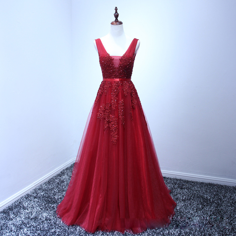 5bab669cfc5 Pretty Red V-Neck Appliques Beading Long Evening Dress