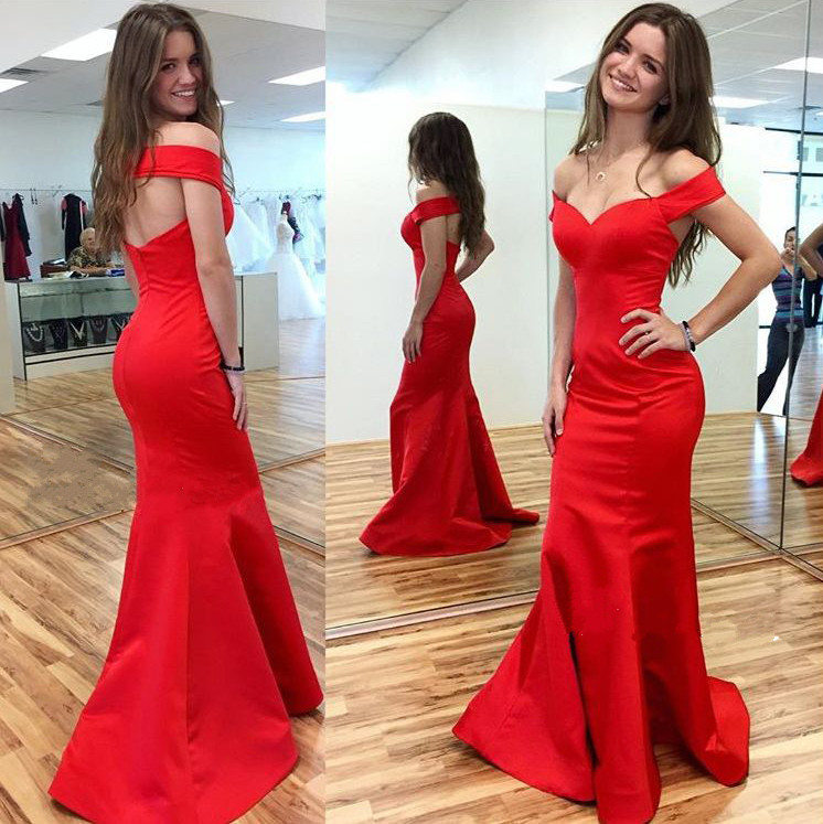 Hot Sales Custom Made Satin Red Long Mermaid Prom Dresses 2017 on Luulla 81f99c1fc6f5