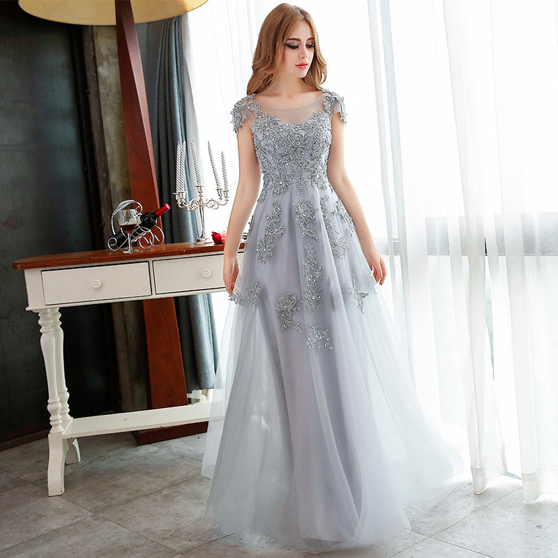 88e0c78a89b86 Pretty Grey Applique And Beading Tulle Evening Dresses Handmade A-Line  Formal Women Prom Gowns 2017