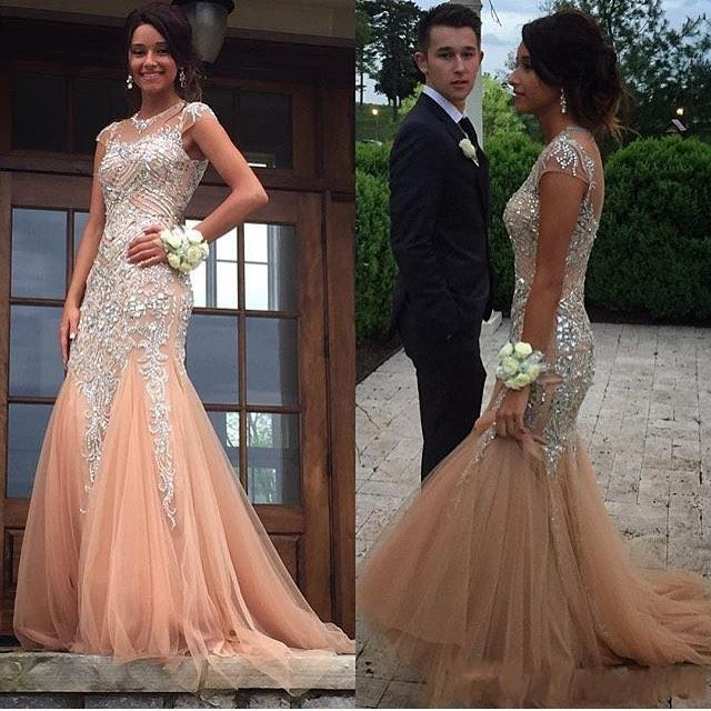 1e1cf73ca7e Champagne Beading Tulle Long Prom Dresses Custom Made Mermid Formal Women Evening  Gowns 2017