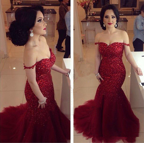 Wine Red Long Prom Dresses,Sexy Off Shoulders Mermaid Evening Dresses,2017 Beading Prom Gowns
