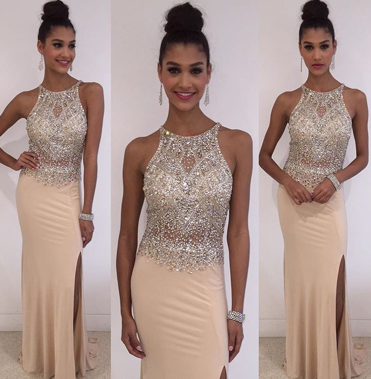 Champagne Mermaid Prom Dresses,Beading Satin Long Prom ...