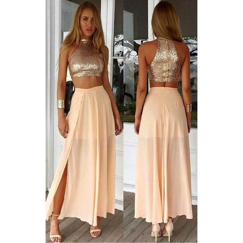 2017 Gold Two Piece Long Prom Dress,Sexy Slit Chiffon Evening Dress,Custom Made Sequins Prom Dress