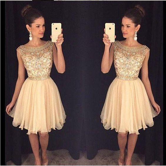 Champagne Beaded Homecoming Dresses,Short Sheer Homecoming Dresses,Modest Girls Party Dress 2017