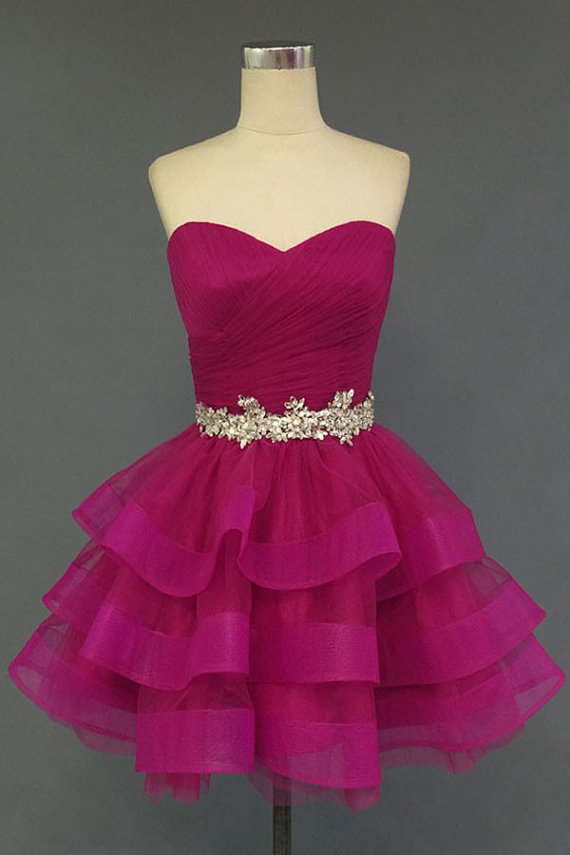 a5b6e73165d Custom Made Pink Draped Sweetheart Neckline with Diamond Embellished  Waistline Tulle Short Evening Dress
