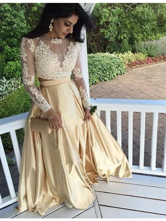 d708da7d2b Gold Prom Dresses,2 Piece Prom Dresses,Sheer Formal Dress,Long Sleeve  Evening Gowns