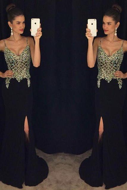 Pretty Black Long Chiffon Prom Dress Sexy V-neck Slit Prom Dress Custom Made Beading Evening Gowns 2107 Formal Party Dress