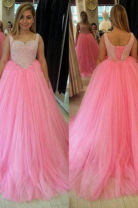 Lovely Pink Prom Dress Sweetheart Beading Tulle A-line Prom Dress Custom Made Evening Gowns 2017