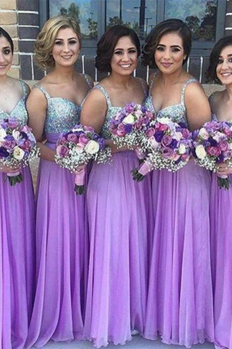 Light Purple Bridesmaid Dresses,Beaded Bridesmaids Dresses,Formal Wedding Guest Dress