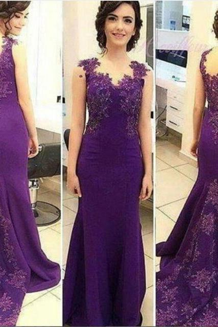2017Purple Mermaid Prom Dresses Beading Prom Dress With Applique Lace Sleeveless Sweep Train Mermaid Evening/Party Gowns