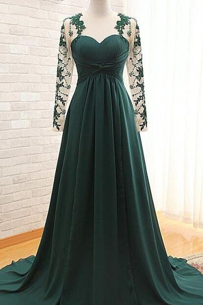 Lace Prom Dress A-line Chiffon Long Sleeves Prom Dress Custom Made Sweetheart Evening Gowns