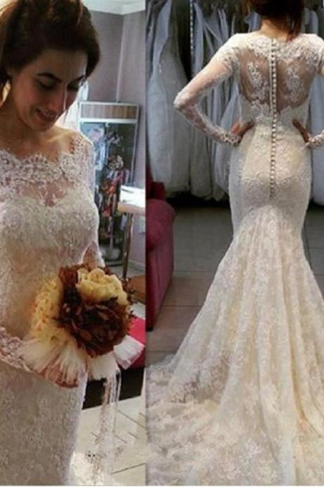 Vintage Lace Mermaid Wedding Dresses Long Sleeves Bridal Gowns Custom Made Vestidos De Noiva