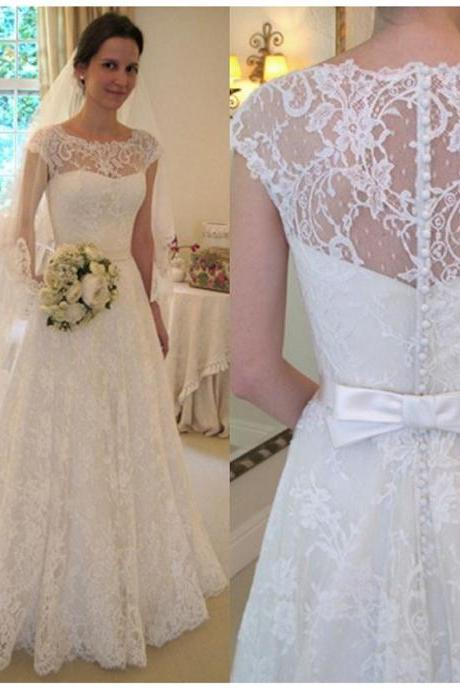 Lace Wedding Dresses,Sheer Wedding Dresses,Vintage Wedding Dress,A Line Bridal Gowns